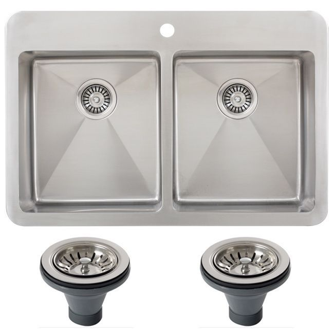 Ticor tr1700bg del 33 inch 16 gauge double bowl stainless - Overmount sink kitchen ...