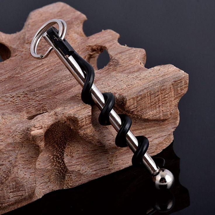 EDC Stainless Steel Corkscrew Pocket Red Wine Bottle Opener Keyring Tool
