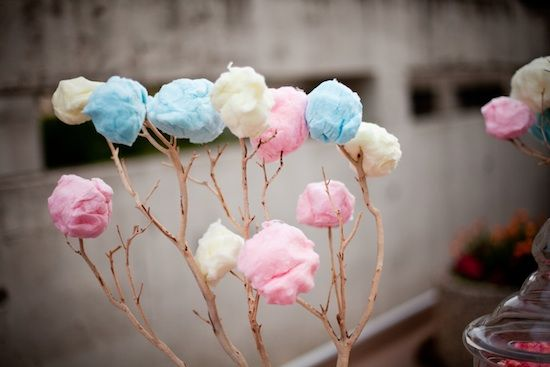 cotton candy on tree branches.