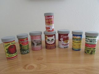Child's toy canned goods made with those empty medicine bottles.