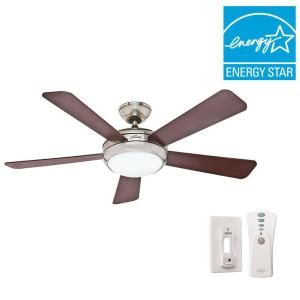 Hunter Palermo 52 in. Indoor Brushed Nickel Ceiling Fan with Remote 59052 at The Home Depot - Mobile