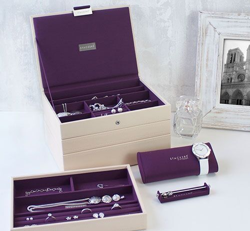 Stackers Jewellery Box. cream & purple stackable storage for your home or as a gift. See more at www.Stackers.com.