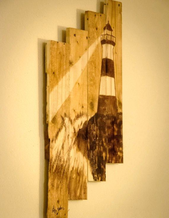 Lighthouse painting Lighthouse art Lake house by SimplyPallets