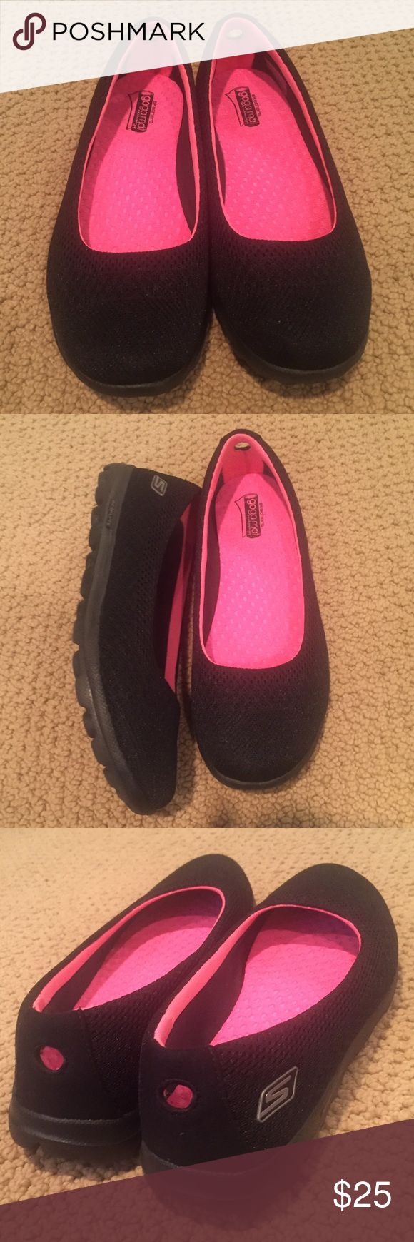 Sketchers Go Walk Black Ballet Flats Slip-on Shoes Size 8.5. Look like new - worn only 1 time. Skechers Shoes Flats & Loafers