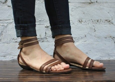 Double strap brown flat sandals
