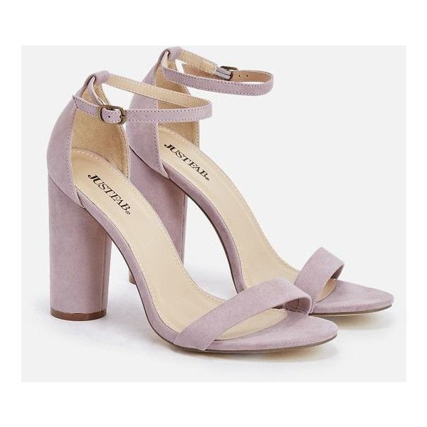 Justfab Heeled Sandals Elena ($40) ❤ liked on Polyvore featuring shoes, sandals, purple, platform shoes, ankle strap platform sandals, purple shoes, justfab shoes and high heel platform shoes