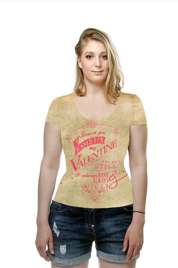 Valentine beige pink lettering character Printed Art Fashion T-Shirt by OArtTee