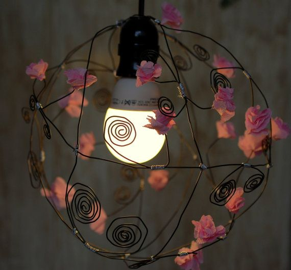 Pink flowers chandelier Handmade Wire and Paper Ceiling Lamp Shade  Handmade unique lighting