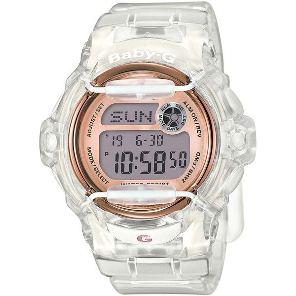 Baby-g Women's Digital Clear Resin Strap Watch 45x42mm BG169G-7B (€84) ❤ liked on Polyvore featuring jewelry, watches, white, white jewelry, sport watch, sporty watches, clear jewelry and white digital watches