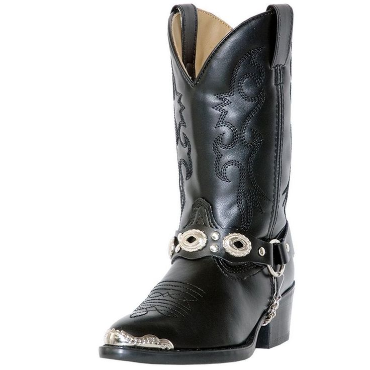 Boys Cowboy Boots Black Laredo Western Little Concho Cowboy Heel LC3200 Size 1 #Laredo #Boots