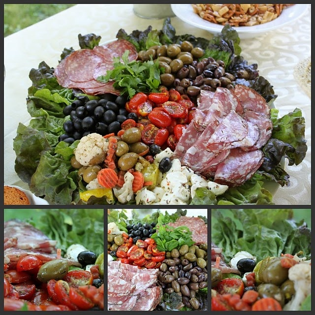 antipasta platter: could include: • Assortment of salami, prosciutto, melon, leg of ham, feta cheese, hummus, char grilled eggplant, capsicum, semi dried tomatoes, dolmades and assorted olives, served with grissini sticks