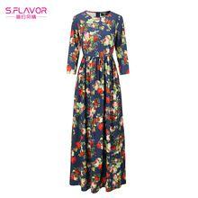 S. SABOR Mujeres Maxi Vestido Largo 2017 Vestidos de Estampado floral Vintage O Cuello Delgado Vestidos de Fiesta Otoño Invierno Boho Vestidos(China)