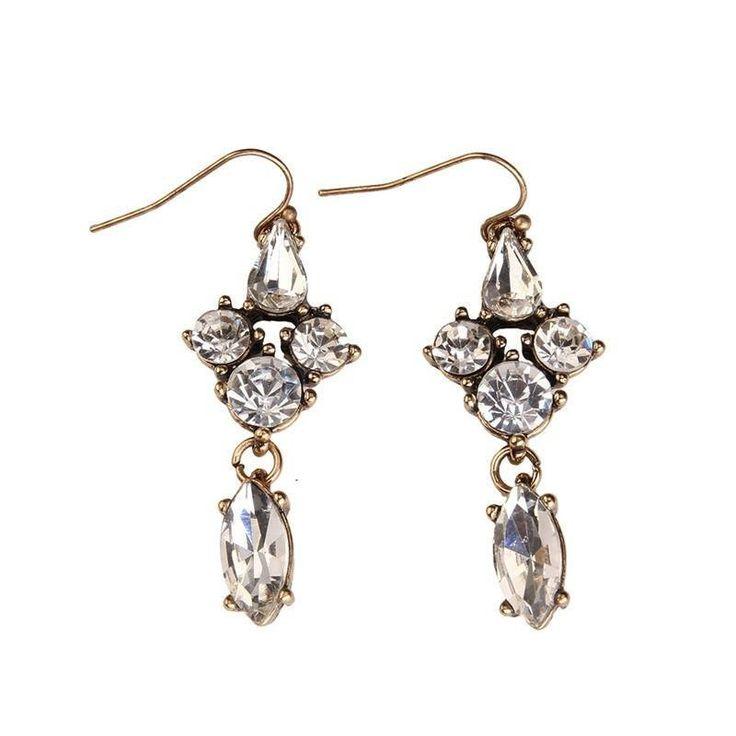 Fashion Drop Earrings - Yvette Vintage Crystal Gem Rhinestone Dangle Earrings