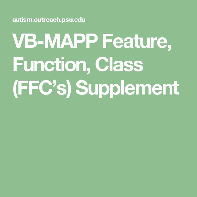 VB-MAPP Feature, Function, Class (FFC's) Supplement