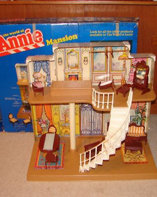Little orphan annies mansion from the my sister had one i remember the little brittle plastic furniture with the patterned stickers