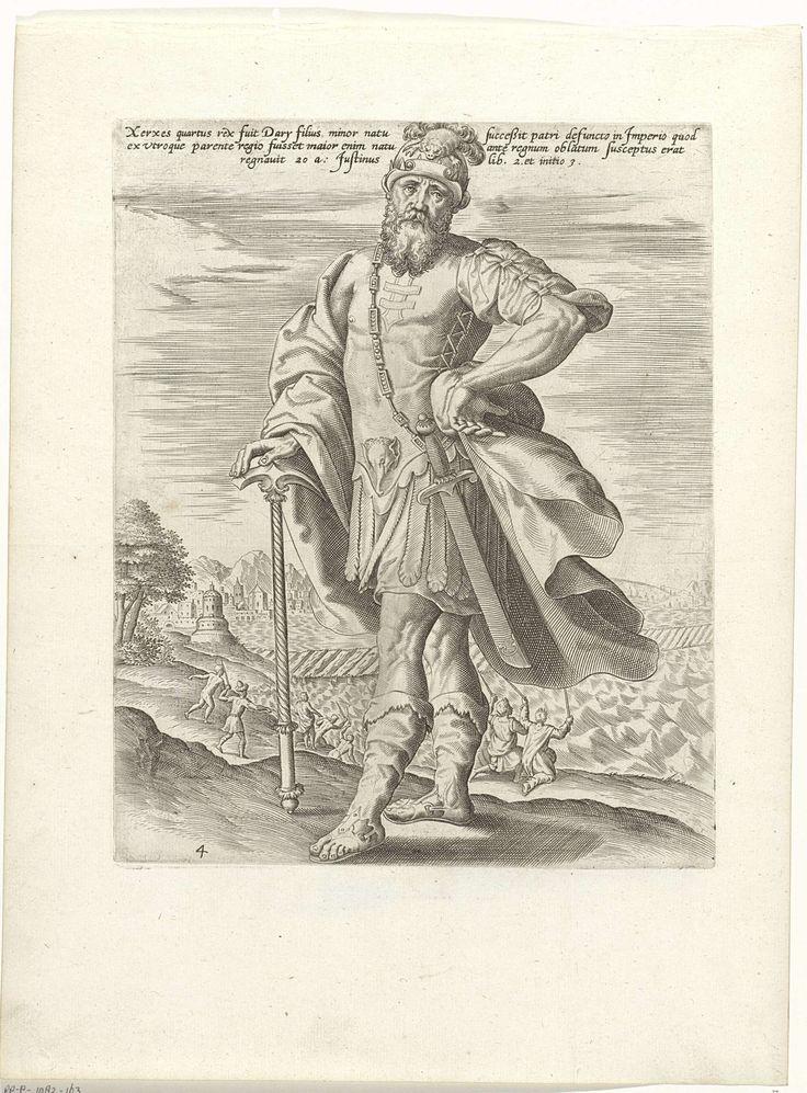 Anonymous   Koning Xerxes, Anonymous, 1585   Koning Xerxes van Perzië staande met een hand op een pikhouweel. Op de achtergrond is te zien hoe de mannen van Xerxes de Hellespont zweepslagen geven. Dit deden zij in opdracht van Xerxes nadat de gebouwde bruggen over de Hellespont door storm en het water waren vernield. Boven de voorstelling een drieregelige tekst in het Latijn.
