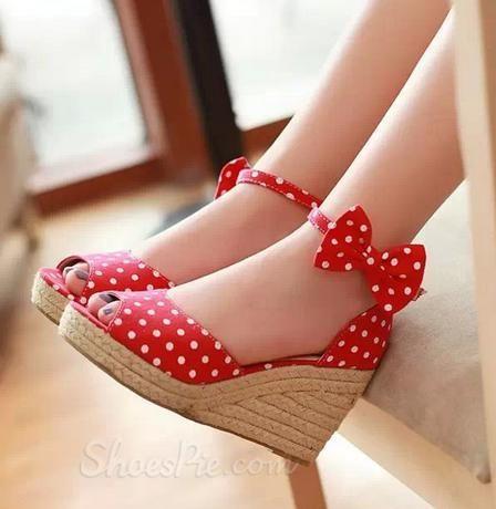 Elegant Sweet Girl Bowtie Wedge Heel Sandals