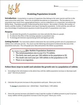 Ecology Activity Modeling Population Growth Ap