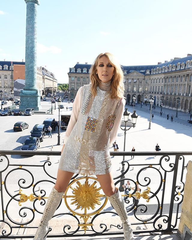 """""""They see me; I don't see them"""" is Celine Dion's line on the great blob of paparazzi and fans that follows her everywhere. She gives them any picture they ask for plus a great many more. Consider an appointment with at the house of Schiaparelli where she poses for the creative director Bertrand Guyon on a window sill overlooking the Place Vendome. She wears a tiny whimsical dress of Swarovski chainmail re-embroidered with yet more crystals and high sparkly Victorian boots--a little Twiggy a…"""
