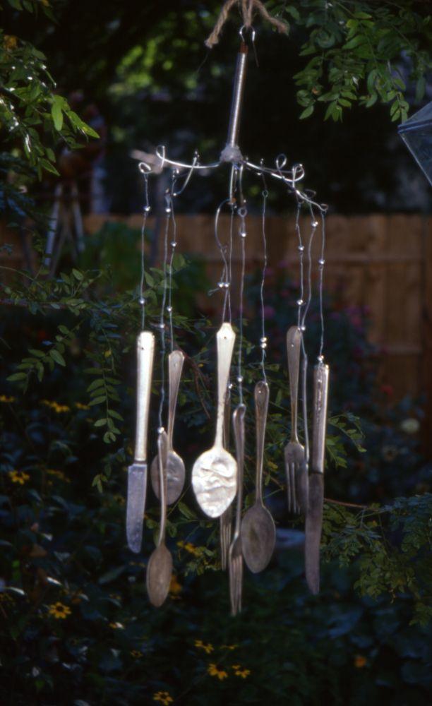 More funky garden junk: Silverware windchimes