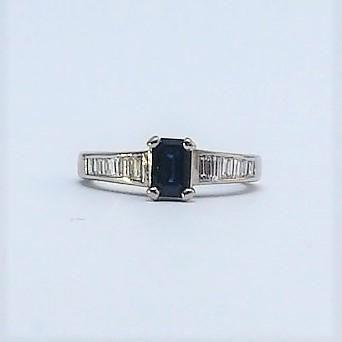 Emerald Cut Sapphire Solitaire Platinum Ring