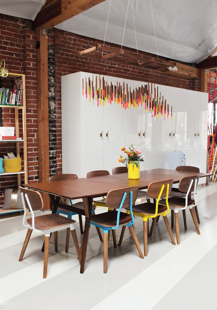 Joy Cho of Oh Joy! | The Everygirl - dining table, dining chairs, chandelier