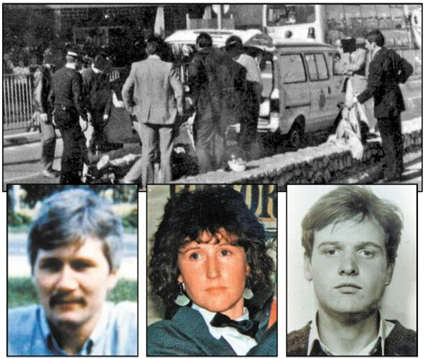 The bodies of PIRA Members, Daniel McCann and Mairead Farrell being removed during Operation Flavius in Gibraltar 1988. A third PIRA Member, sean savage was also killed.