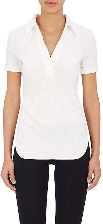 Helmut Lang Women's Rib-Knit Cotton Polo Shirt
