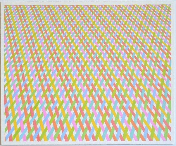 Sara Eichner, weave of warm colored plane into cool 2014, gouache on watercolor paper, 14 x 17 inches