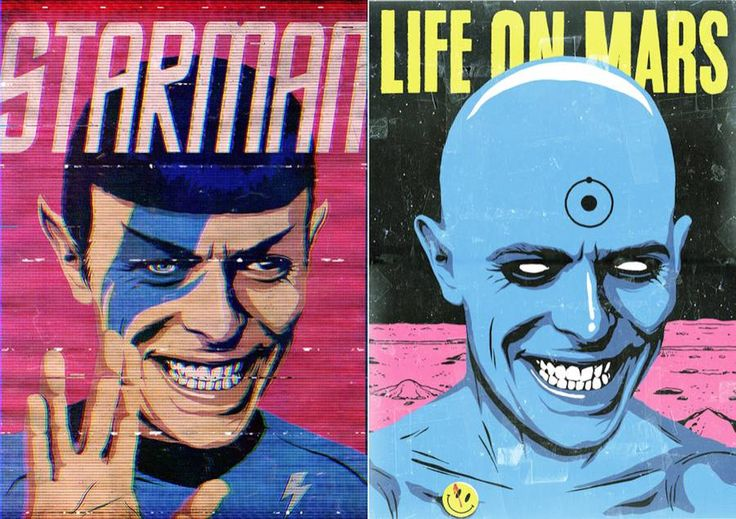 David Bowie Pop Culture Posters  Since the death of David Bowie there is lost of artistic tributes. The artist Butcher Billy imagined a beatiful series of posters in which he associates every songs from the icon with a famous figure or a character from the Pop Culture universe. Starman is associated with Spock Young Americans with The Simpsons or Space Odity with 2001 : Space Odyssey.                                 #xemtvhay