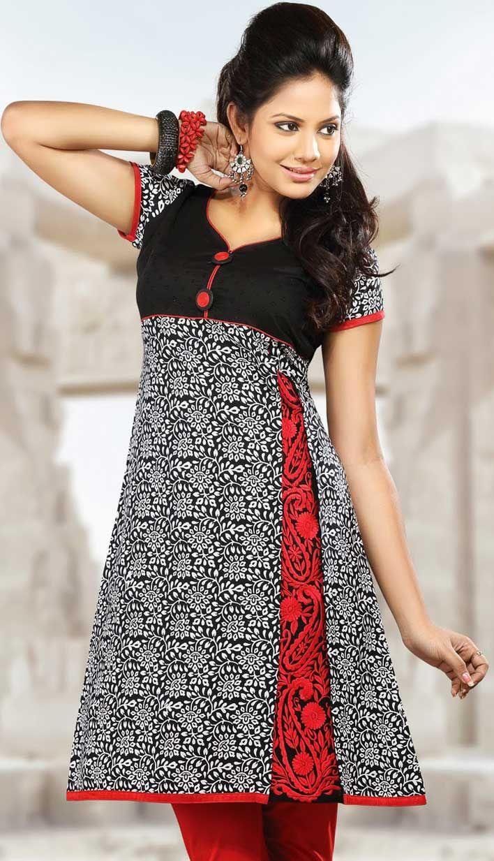Latest Short Nail Designs 2015: Bollywood Latest Short Black Cotton Super Girls Wear Kurti