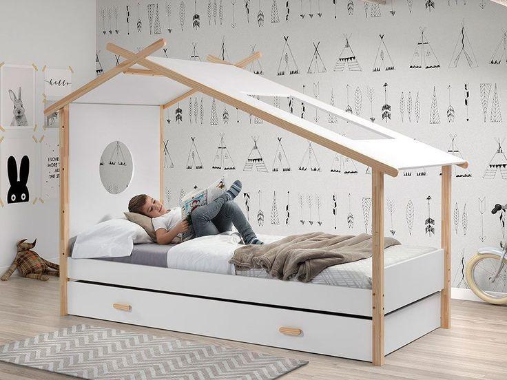 Lit Enfant Tipi En Bois Brut Et Laque Camp Pas Cher Lit Enfant Delamaison In 2020 Childrens Bedroom Furniture Bed Tent Kid Beds