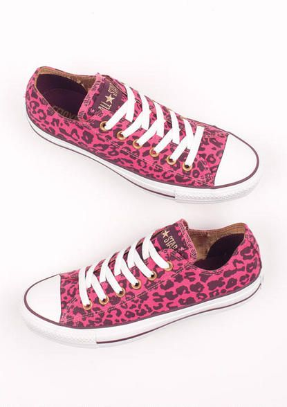 f2d5abd9bf12 Pink and Black Cheetah Print Converse I guess size 7