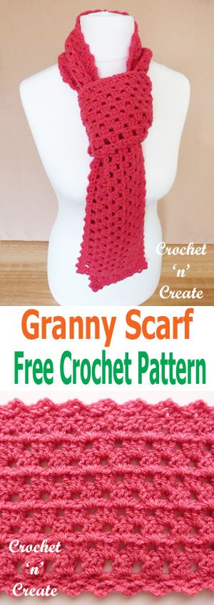 A simple FREE crochet granny scarf pattern for you to make. #crochetncreate #crochetscarf #crochet