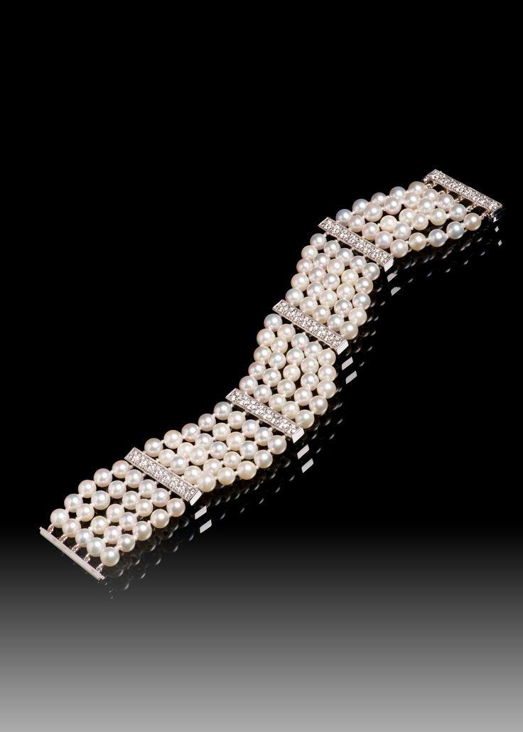 JPratt Designs: Custom designed and custom created pearl and diamond bracelet