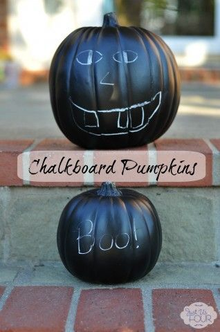 Paint faux pumpkins with chalkboard paint for pumpkins that can be decorated over and over #halloween #crafts