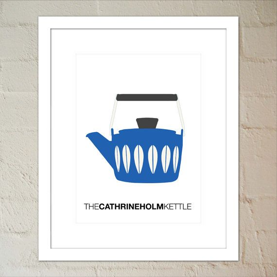 Blue Cathrineholm Lotus Kettle  Print Wall Art by paper4download