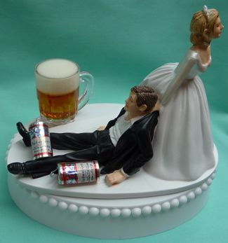 Wedding Cake Topper - Budweiser Bud Beer Drinking Groom Drinker Themed