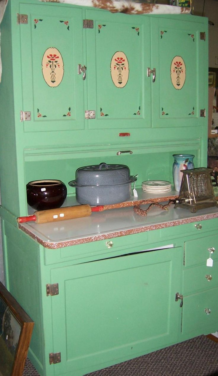 Green with Stencils vintage kitchen Hoosier Cabinet. Made in Nappanee, Indiana