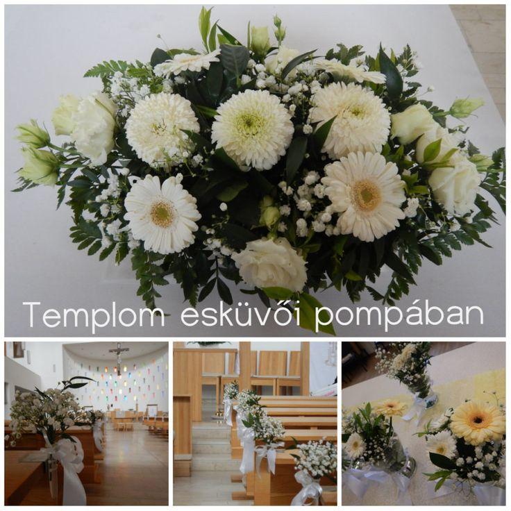 Sárga és fehér gyertyafényes esküvő |church dekor- templom dekoráció