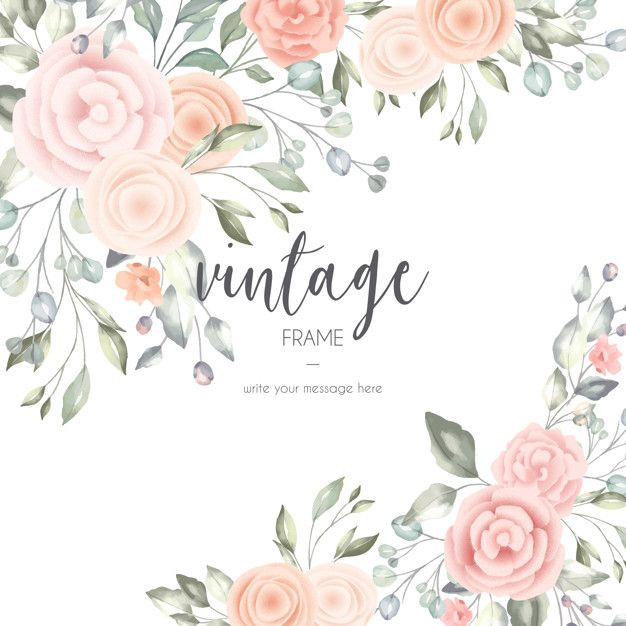 Download Romantic Floral Card With Watercolor Elements For Free In