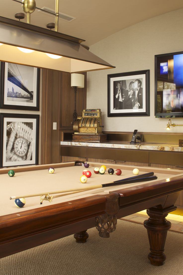 Miami Game Room-Warm& muted luxurious materials contribute to the intimate mood