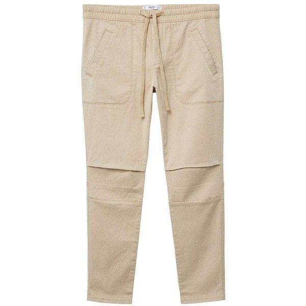MANGO Adjustable waist trousers (475 NOK) ❤ liked on Polyvore featuring pants, beige, beige pants, mango trousers, pink trousers, drawstring waist pants and pink pants
