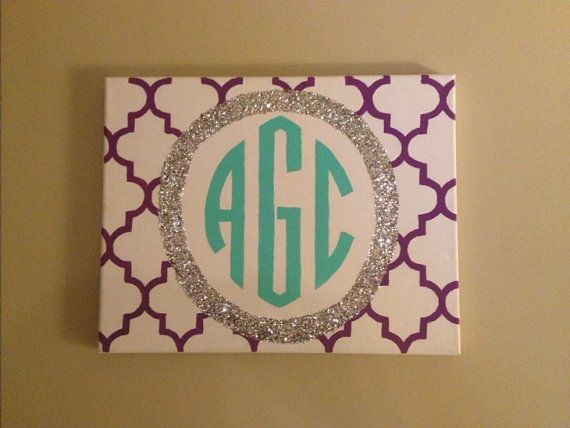 Glitter Monogram Canvas | Quatrefoil Glitter Monogrammed Canvas on Etsy, $20.00