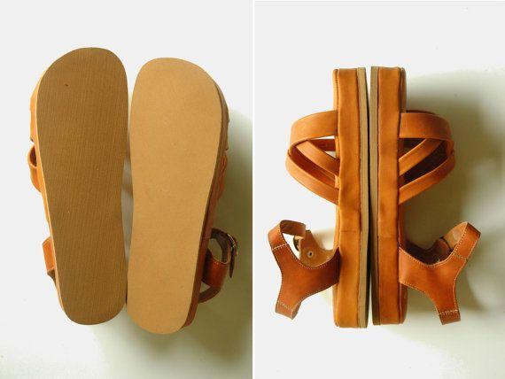 zeppe di pelle / pelle scarpe piattaforma / vintage di pieceshop
