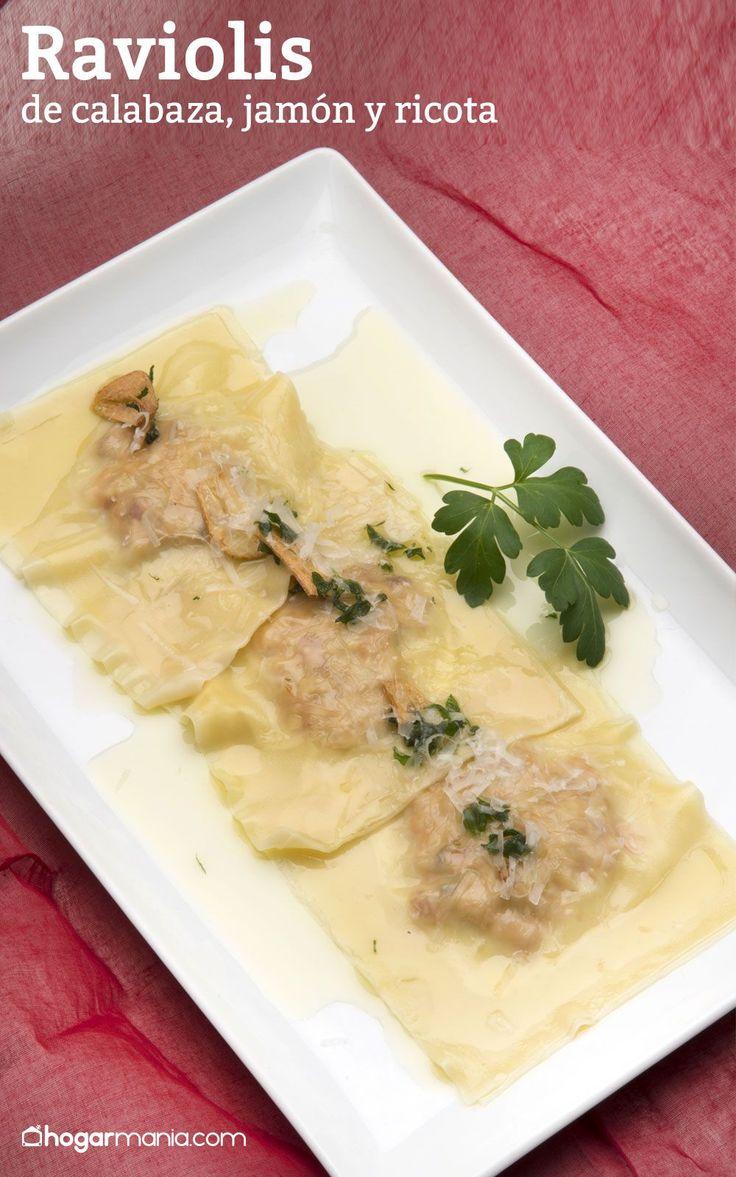 Raviolis de calabaza, jamón y ricota