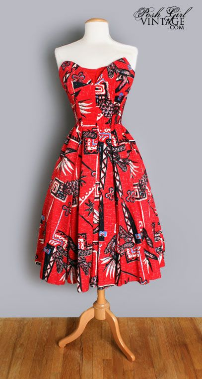 1950's Alfred Shaheen Red Hawaiian Print Dress. Loving the fabric, now if it only had sleeves.