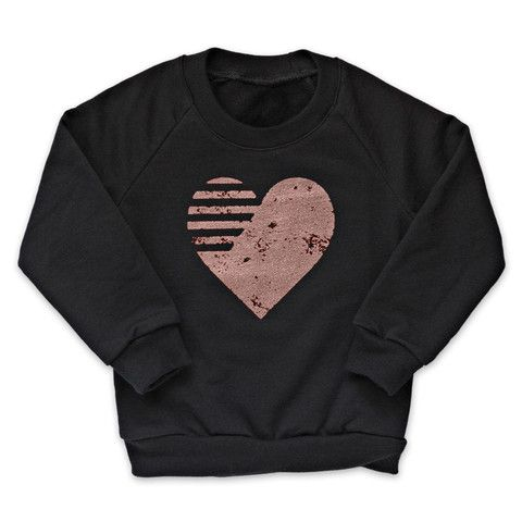 Rose Gold Graphic Heart Fleece Pullover