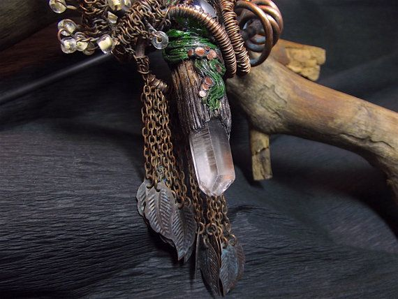 polymer clay necklace mystical an elven an enigmatic от Taptamba