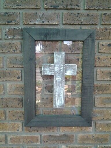 Reclaimed wood frame and cross
